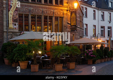 Gothic house on the marketplace in the evening light, Xanten, the Lower Rhine, North Rhine-Westphalia, Germany, - Stock Photo