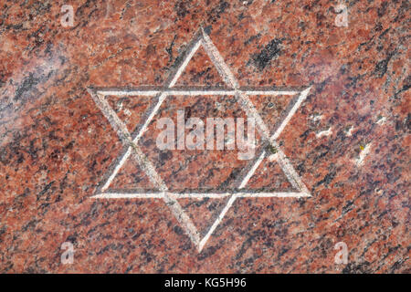 Star of David on the memorial stone to the destruction of the synagogue at the pogrom night in 1938, Bremerhaven, - Stock Photo