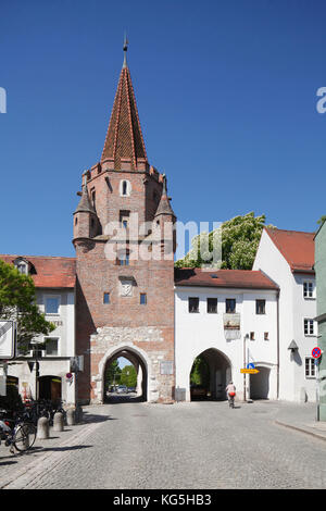 Kreuztor (town gate) in the Old Town, Ingolstadt, Upper Bavaria, Bavaria, Germany, Europe - Stock Photo