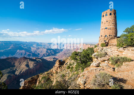 Desert view stone tower on top of the south rim of the Grand Canyon, Arizona, USA - Stock Photo