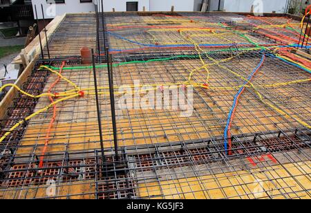 new foundation construction with plastic tubes - Stock Photo