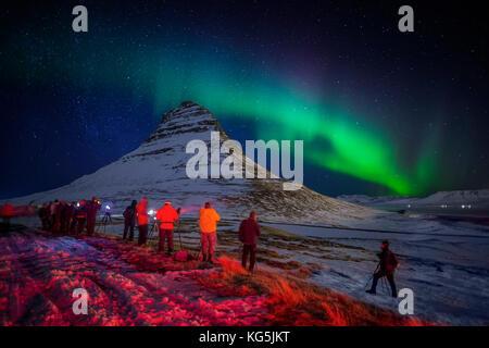Aurora Borealis or Northern lights over Mt Kirkjufell, Snaefellsnes Peninsula, Iceland Photographing Kirkjufell - Stock Photo