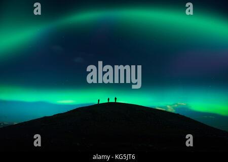 Photographing the Auroras and Icebergs at the glacial lagoon, Jokulsarlon-Breidamerkurjokull, Vatnajokull Ice Cap, - Stock Photo