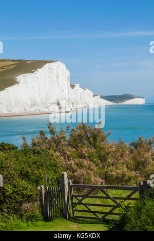 England, East Sussex, South Downs National Park, The Seven Sisters Cliffs and Skyline viewed from Seaford Head - Stock Photo