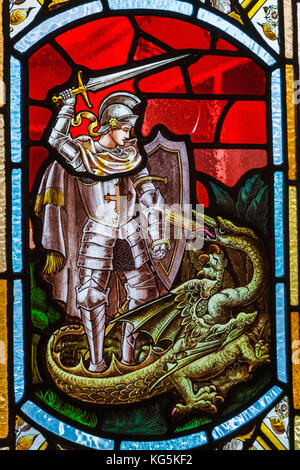 England, Dorset, Bournmouth, The Russell Coates Art Gallery and Museum, Stained Glass Window depicting Saint George - Stock Photo