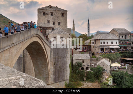 The Old bridge (Stari Most), unesco world heritage site in Mostar, Bosnia and Herzegovina - Stock Photo