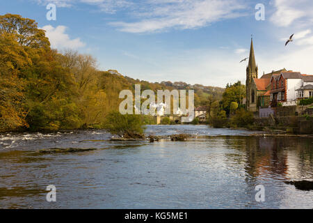 View down the River Dee and the rural Welsh market town of Llangollen in North Wales United Kingdom - Stock Photo