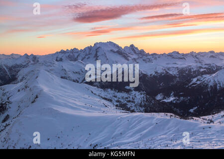 Europe, Italy, veneto, Belluno. Winter landscape from Nuvolau peak towards Marmolada and mount Pore in foreground, - Stock Photo