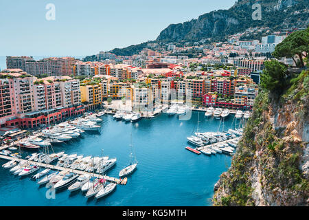 Daily view on Fontvieille and Monaco Harbor, Monaco, Principality of Monaco, Cote d'Azur, South of France, Western - Stock Photo