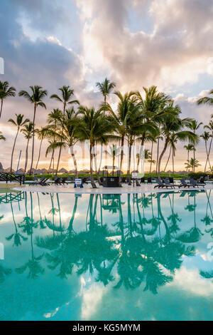 Bavaro Beach, Bavaro, Higuey, Punta Cana, Dominican Republic. Beach resort. - Stock Photo