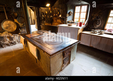 a view of the interior of an old country house in Sarntal, Bolzano province, Trentino, Alto Adige, South Tyrol, - Stock Photo