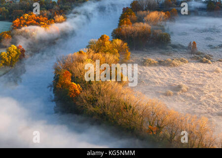 The mists of Adda river, Airuno, park Adda Nord, Lecco province, Brianza, Lombardy, Italy, Europe - Stock Photo