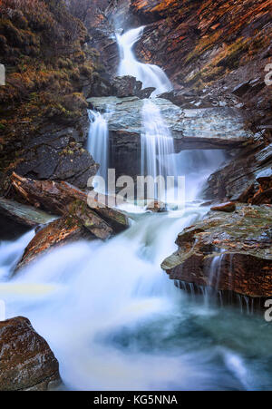 Waterfall near the village of Isola, Lake Sils, Engadine, Canton of Graubunden, Switzerland, Europe - Stock Photo