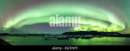 Jokulsarlon, Eastern Iceland, Iceland, Northern Europe. Northern lights over the glacier lagoon