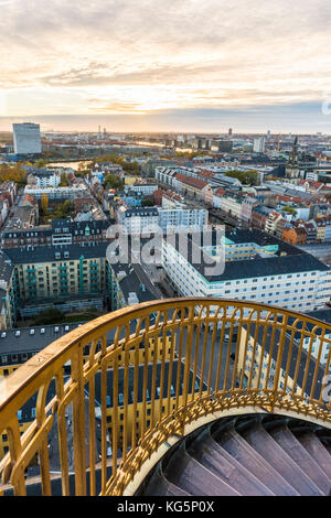 Copenhagen, Hovedstaden, Denmark, Northern Europe. High angle view of Copenhagen old town from the top of the Church - Stock Photo