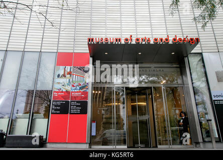 Entrance to the Museum of Arts and Design located at Columbus Circle in Manhattan. - Stock Photo