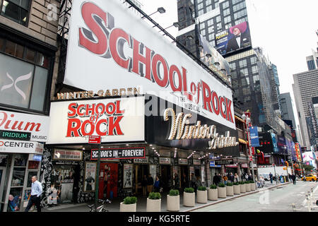 Big sign for School of Rock musical at the Winter Garden theater on Broadway. - Stock Photo