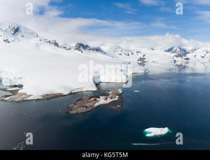 Aerial of Waterboat Point and González Videla Antarctic Base, Paradise Harbor, Antarctica. - Stock Photo