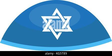 Hebrew bale icon, flat style. Religious Jewish hat. Isolated on white background. Vector illustration - Stock Photo