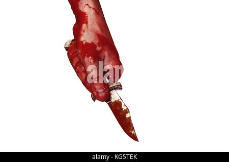 bloody hand holding a knife, a bloody small folding knife, bloody theme, a killer with a knife, halloween theme, - Stock Photo