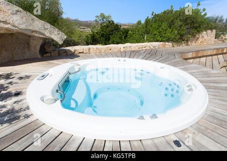 a pool in a beautiful villa in sardinia - Stock Photo
