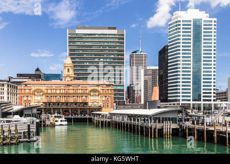 The historic Ferry terminal building in Britomart in downtown in Auckland, New Zealand largest city on a sunny day. - Stock Photo
