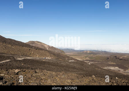 Volcanic landscape on the Tongariro crossing famous hiking trail in New Zealand north island on a sunny day. - Stock Photo