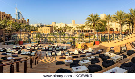 A panoramic view of Madinat Jumeirah amphitheatre and the famous Burj Al Arab luxurious hotel in Dubai. - Stock Photo
