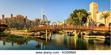 A panoramic view of Madinat Jumeirah and the famous Burj Al Arab luxurious hotel in Dubai. - Stock Photo
