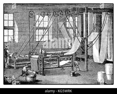Textile finishing machine, with coating or dye, XIX century industrial factory - Stock Photo