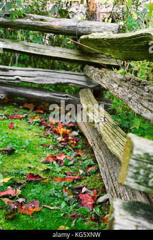 Wooden fence marking boundaries at historic Mabry Mill on the Blue Ridge Parkway in Virginia. - Stock Photo