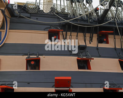 Gun Ports on HMS Victory in Portsmouth Historic Dockyard, UK - Stock Photo