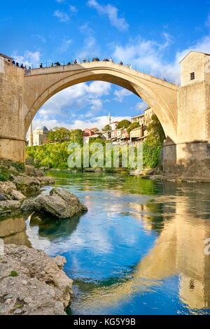 Mostar, Bosnia and Herzegovina - Stari Most or Old Bridge, Neretva River - Stock Photo