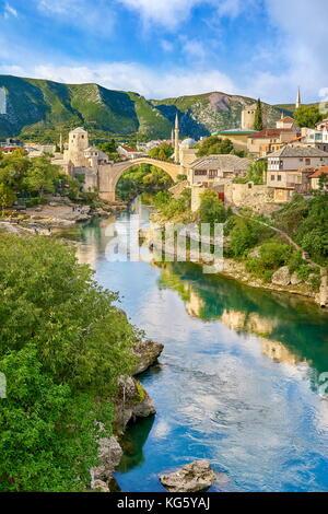 Mostar, Bosnia and Herzegovina - Stari Most or Old Bridge, Neretva Rivercityscape - Stock Photo