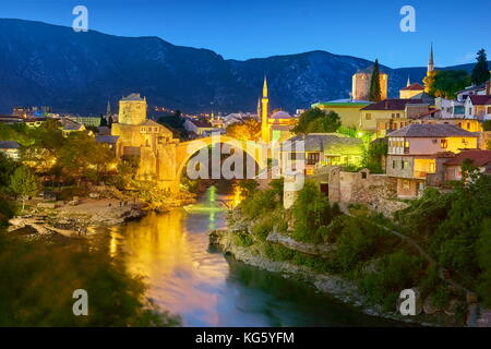 Mostar, Bosnia and Herzegovina - evening view at Stari Most or Old Bridge, Neretva River - Stock Photo
