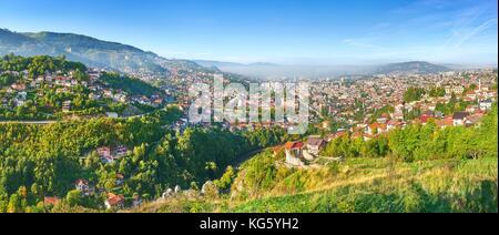 Aerial panorama view of Sarajevo, capital city of Bosnia Herzegovina - Stock Photo