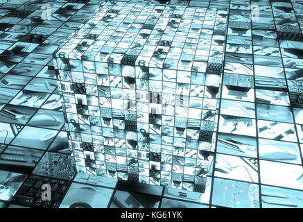 technology screens on a cube - Stock Photo