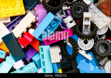 Tambov, Russian Federation - June 22, 2017 Multicolor Lego blocks, bricks, wheels and tires. Full frame. Studio - Stock Photo