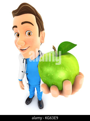 3d doctor holding green apple, illustration with isolated white background - Stock Photo