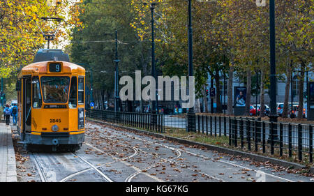 Tram at Parco del Valentino. Turin, Piedmont, Italy - Stock Photo