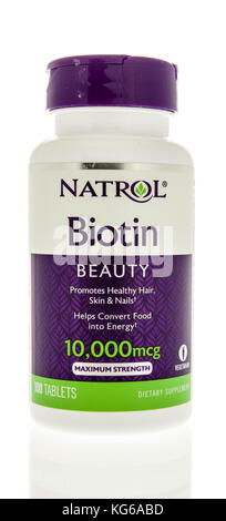 Winneconne, WI - 31 October 2017:  A bottle of Natrol bitoin supplement on an isolated background. - Stock Photo