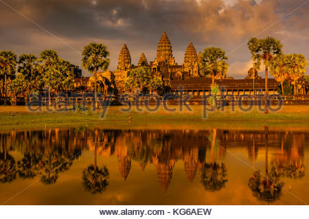 Angkor Wat, the largest religious monument in the world (means City which is a Temple); Cambodia. - Stock Photo