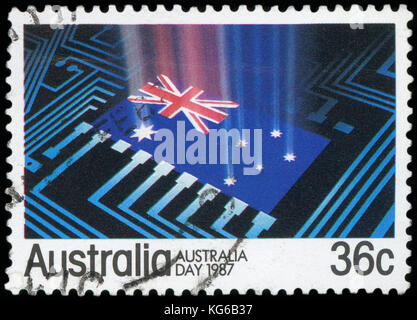 AUSTRALIA - CIRCA 1987:A Cancelled postage stamp from Australia illustrating Australia Day, issued in 1987. - Stock Photo