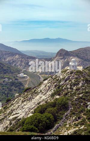 The chapel Agios Georgios on a hill, lefts side below the church Agia Marina, Naxos island, Cyclades, Aegean, Greece - Stock Photo