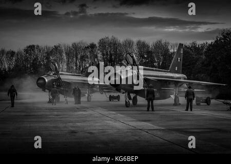 English Electric Lightning aircraft shot at night as part of an evening event in November 2017, Bruntingthorpe, - Stock Photo