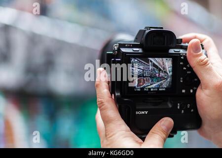 A photo of a sony camera in hosier lane melbourne australia - Stock Photo