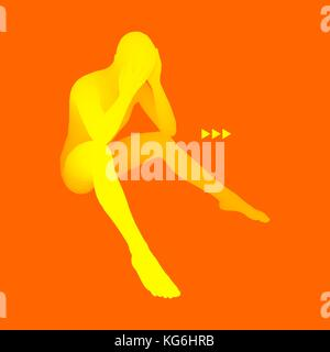 Man Thinks about a Problem. Despair, Depression, Hopelessness, Addiction Concept. 3D Model of Man. Vector Illustration. - Stock Photo