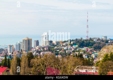 Aerial view of Sochi on the background of the sea in sunny day, Russia - Stock Photo