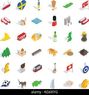 Bakery icons set, isometric style - Stock Photo