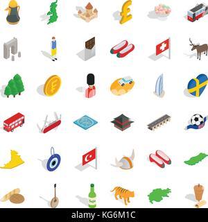Castle icons set, isometric style - Stock Photo